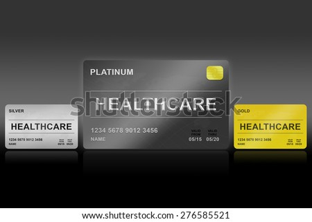 healthcare platinum card on black background - stock photo