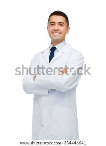 healthcare, profession, people and medicine concept - smiling male doctor in white coat - stock photo