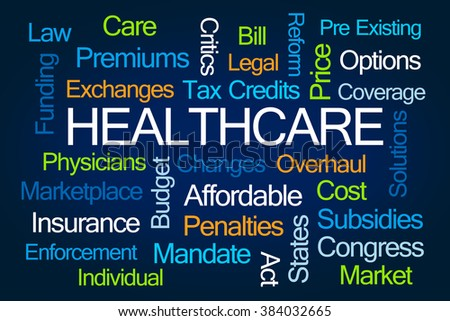 Healthcare Word Cloud on Blue Background - stock photo