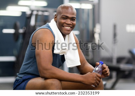 healthy african american man resting after workout - stock photo