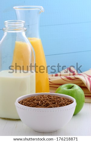 Healthy and delicious bran cereal breakfast  - stock photo