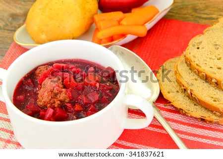 Healthy and Diet Food: Soup with Beetroot and Dumplings. Studio Photo