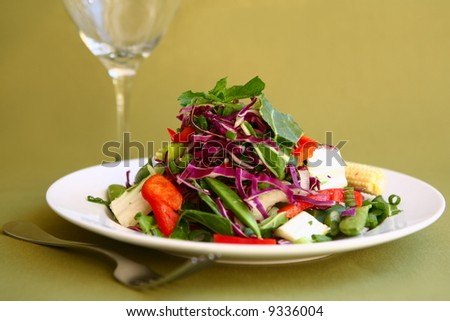 Healthy and Light Mixed Salad With a Fork and Glass - stock photo