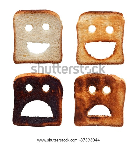 Healthy and unhealthy tanning concept with toasted bread slices - stock photo