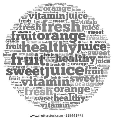 Healthy and vitamin info-text graphics and arrangement concept on white background (word cloud)