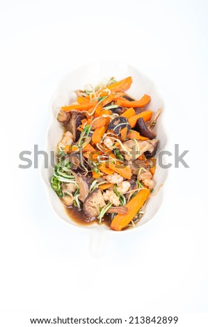healthy asian cuisine dish on white background