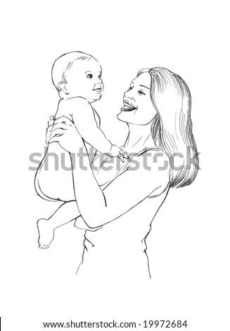 healthy baby and  happy mama, - stock photo