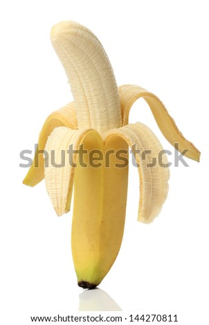 Healthy banana isolated on white background - stock photo