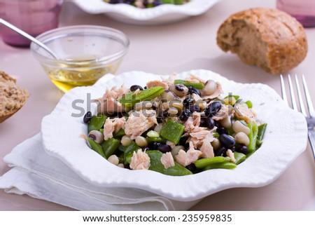 Healthy bean and tuna salad - stock photo