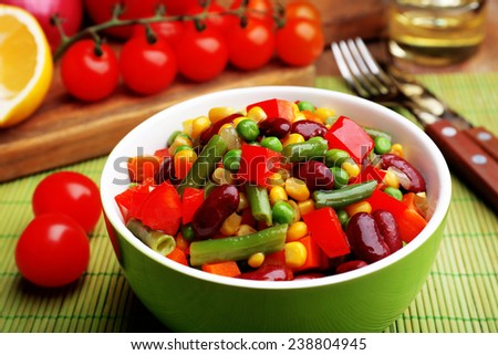 Healthy beans salad on table - stock photo