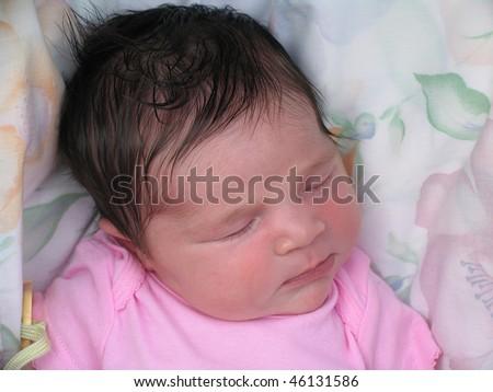 Healthy Biracial Baby African American Infant Girl Sleeping - stock photo