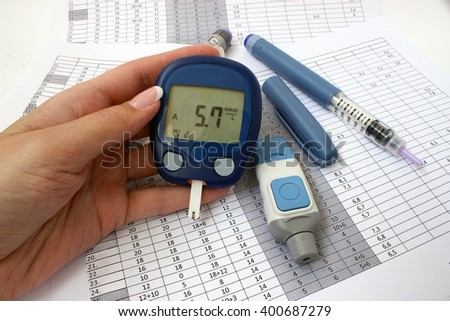 Healthy blood glucose levels in a female hand
