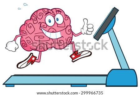 Healthy Brain Cartoon Character Running On A Treadmill And Giving A Thumb Up. Raster Illustration Isolated On White - stock photo