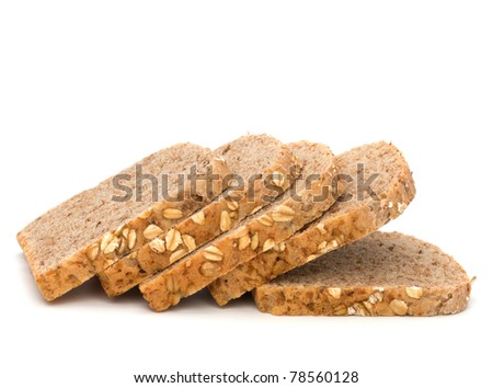 Healthy bran bread slices with rolled oats isolated on white background - stock photo