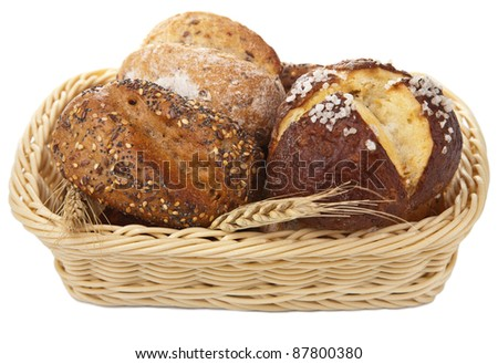 healthy bread in basket isolated - stock photo