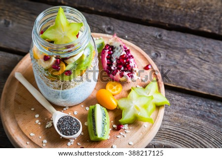 Healthy breakfast and ingredients - stock photo
