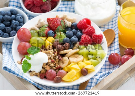 healthy breakfast - berries, fresh fruit and cereal, top view, close-up, horizontal - stock photo