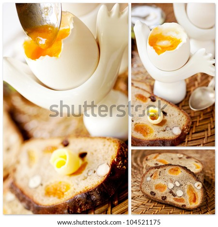 ... breakfast: boiled egg and whole grain bread with nuts. Collage
