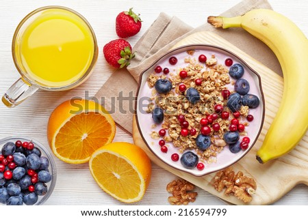 Healthy breakfast. Bowl of yogurt with granola and berries - stock photo