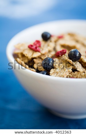 Healthy breakfast cereal with dried strawberries and fresh blueberries