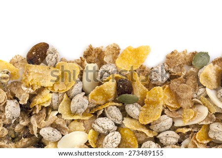 Healthy breakfast cereals.  Border over white background. - stock photo