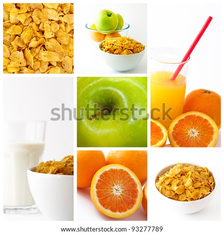 healthy breakfast collage - stock photo