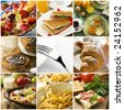 healthy breakfast collage made from nine photographs - stock photo