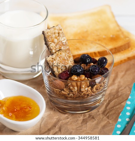 Healthy Breakfast. Muesli and Berries. Diet concept. Square Format. - stock photo