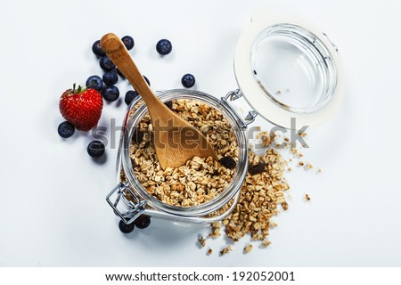 Healthy breakfast - muesli and berries - health and diet concept - stock photo