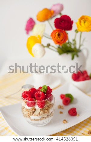 Healthy breakfast - muesli with yogurt and berries - stock photo