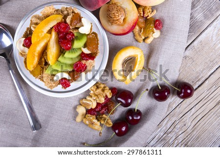 Healthy breakfast on the table - stock photo