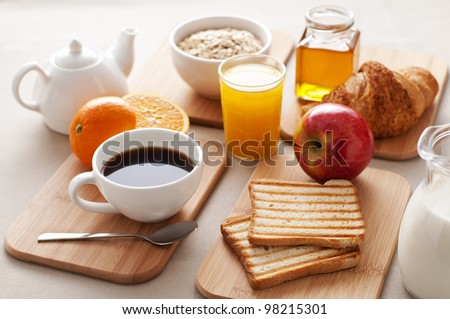 Healthy breakfast on the table close up - stock photo