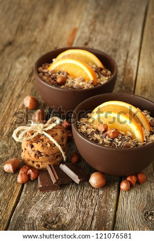 healthy breakfast on the wooden background - stock photo