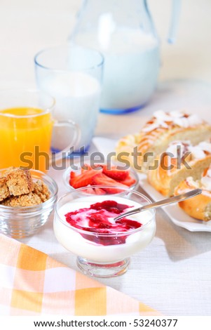 Healthy breakfast or snack with yogurt, pound cake and fresh fruits