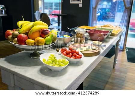 Healthy Breakfast Table in Hotel, Hong Kong - stock photo