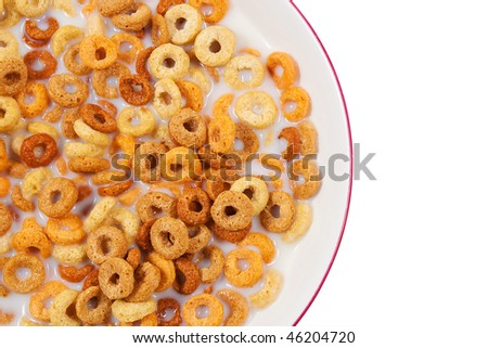 Healthy breakfast with cereal and milk in a bowl on a white background - stock photo