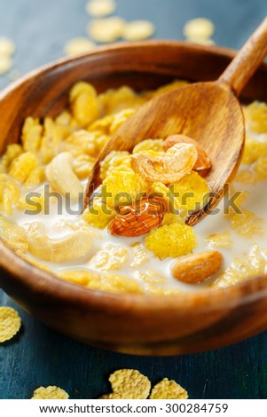 Healthy breakfast with cereal close up. Selective focus. - stock photo