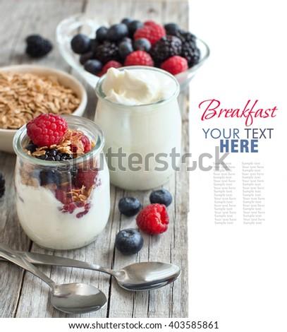 Healthy breakfast with Fresh greek yogurt, flakes  and berries - stock photo