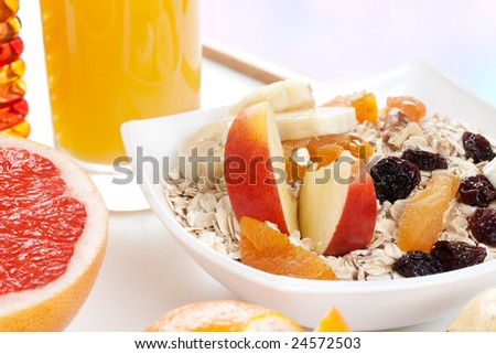healthy breakfast with fruits and juice - stock photo