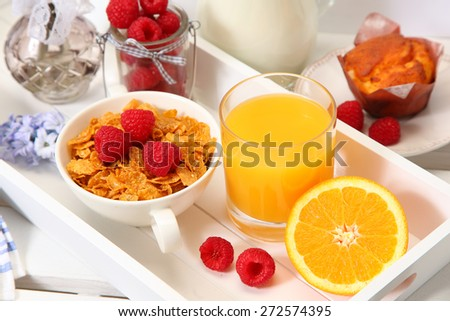 healthy breakfast with milk and cereal - stock photo