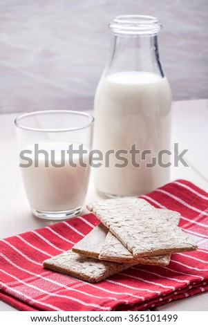 Healthy breakfast with milk and crisp bread.