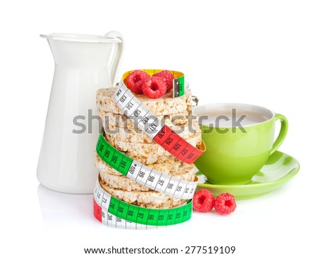 Healthy breakfast with muesli, milk and coffee cup. Isolated on white background - stock photo