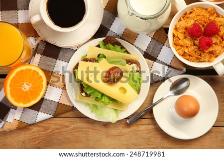 healthy breakfast with sandwich - stock photo