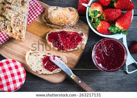 healthy breakfast with strawberry jam - stock photo