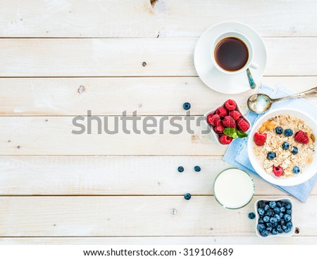 healthy breakfast with text space top view - stock photo