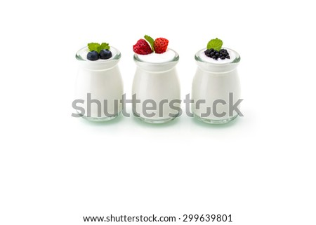 healthy breakfast with yogurt and berry, dieting, freshness, Mint - stock photo