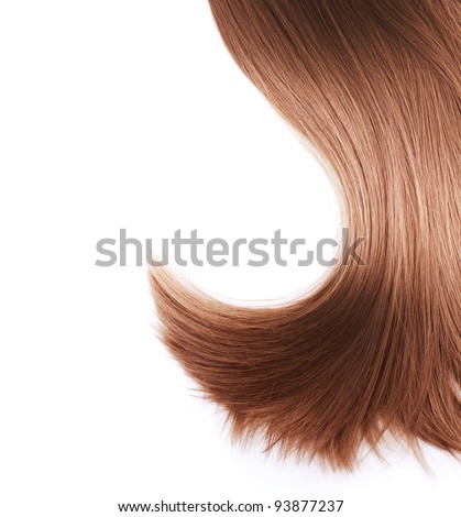 Healthy Brown Hair isolated on white - stock photo