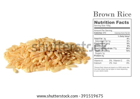 Healthy brown rice uncooked, with nutrition facts on white background - stock photo