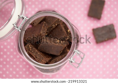 Healthy brownies with hemp flour and raw cocoa powder - stock photo