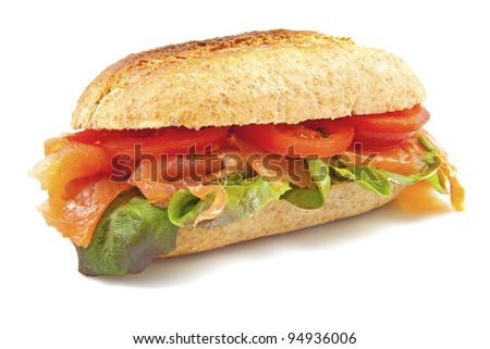 Healthy bun with salad and salmon isolated over white - stock photo